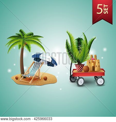Set Of 3D Volumetric Summer Icons For Your Arts, Palm Tree, Beach Chair, Beach Umbrella, Garden Cart