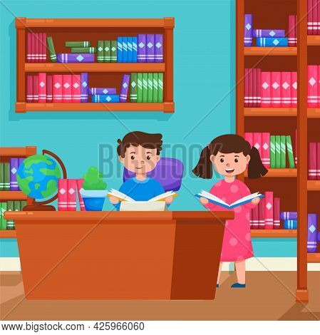 Library Flat Orthogonal Composition With Librarian Assisting Reader At The Service Desk In Front Of