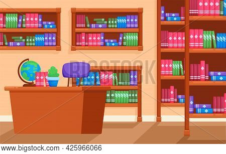 Library Flat Orthogonal Composition With Vector Illustration