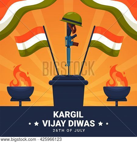 Vector Illustration Of Kargil Vijay Diwas Which English Meaning Is Kargil Victory Day. Vector Illust