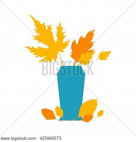 Autumn Orange And Yellow Leaves In Blue Vase. Autumn Concept For Postcard, Card, For Thematic Banner