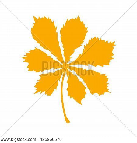 Autumn Leaf, Herbal Element. Fall Orange Chestnut Leaf. Can Be Used As Sign, Symbol, Icon. Autumn Bo