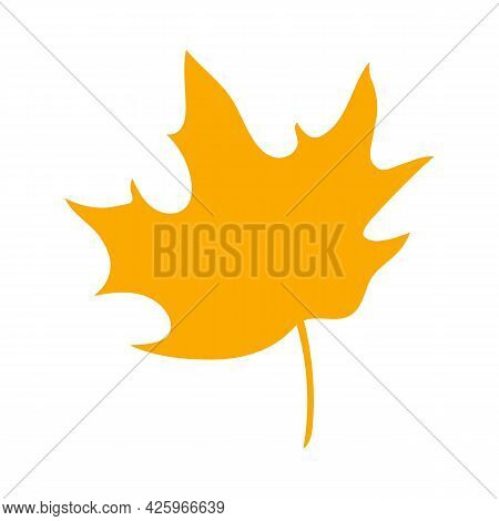 Simple Autumn Leaf, Herbal Element. Fall Orange Maple Leaf. Can Be Used As Sign, Symbol, Icon. Autum