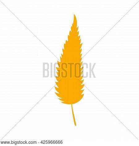 Simple Autumn Leaf, Herbal Element. Fall Orange Willow Leaf. Can Be Used As Sign, Symbol, Icon. Autu