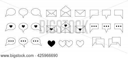 Big Simple Set Of Chat Line Icons. Contour Signs, Symbols And Buttons For Online Communication, Dati