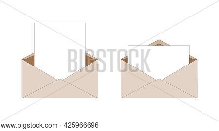 Ordinary Brown Paper Isolated Envelopes With Letter Inside. Delivery Of Correspondence In Envelope.