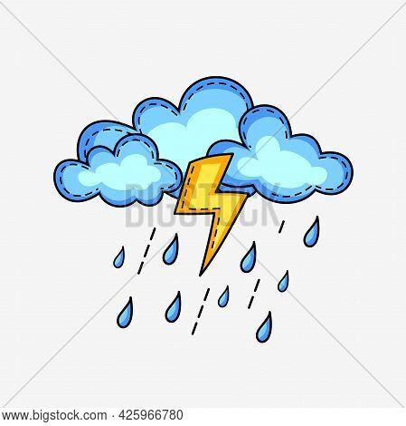 Flat Cute Rain Cloud Illustration Symbol With Unique Style Design, Unusual Rainy Weather Forecast Wi
