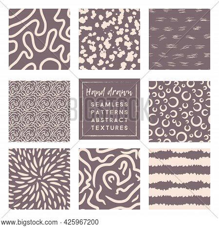 Rose Taupe Patterns Set With Primitive Doodle Elements.