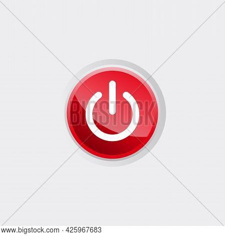 Shut Down Icon With Red Glossy Button Template Vector