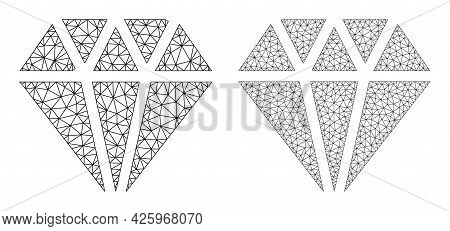 Mesh Vector Adamant Crystal Icons. Mesh Wireframe Adamant Crystal Images In Lowpoly Style With Organ