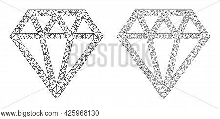 Mesh Vector Brilliant Icons. Mesh Wireframe Brilliant Images In Low Poly Style With Organized Triang