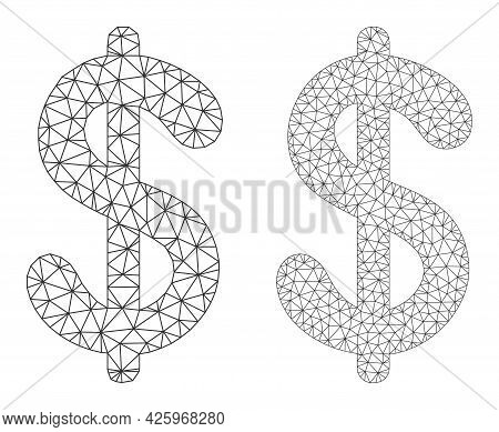 Mesh Vector Dollar Currency Icons. Mesh Wireframe Dollar Currency Images In Low Poly Style With Conn