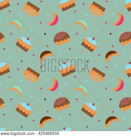 Wallpaper With Cupcakes, Sweets And Sweet Horns On A Green Background. Textile Background With Sweet