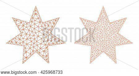 Mesh Vector Seven Pointed Star Icons. Mesh Wireframe Seven Pointed Star Images In Low Poly Style Wit