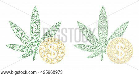 Mesh Vector Cannabis Investing Icons. Mesh Wireframe Cannabis Investing Images In Low Poly Style Wit