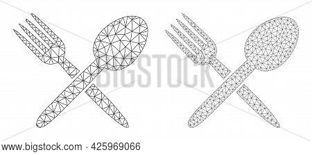 Mesh Vector Spoon And Fork Icons. Mesh Wireframe Spoon And Fork Images In Low Poly Style With Connec