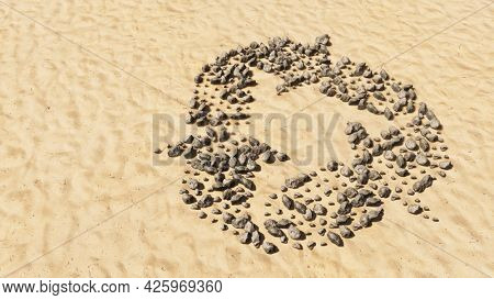 Concept conceptual stones on beach sand handmade symbol shape, golden sandy background, recycle sign. 3d illustration metaphor for recycling, waste reduction, conservation, protection of environment