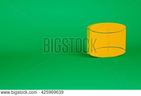Orange Geometric Figure Cylinder Icon Isolated On Green Background. Abstract Shape. Geometric Orname