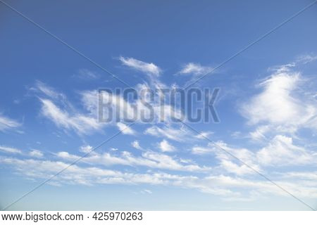 Blue Tender Sky With White Clouds For Background