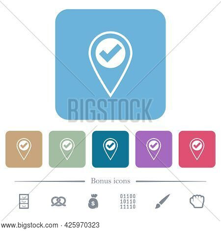 Gps Location Ok White Flat Icons On Color Rounded Square Backgrounds. 6 Bonus Icons Included