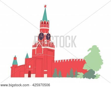 Spasskaya Tower Moscow Kremlin. Russia Red Square.