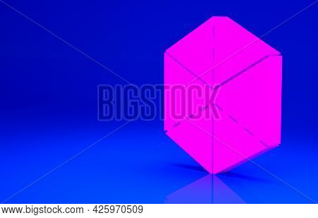 Pink Geometric Figure Cube Icon Isolated On Blue Background. Abstract Shape. Geometric Ornament. Min