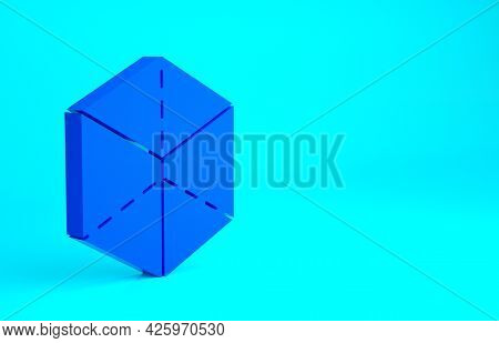 Blue Geometric Figure Cube Icon Isolated On Blue Background. Abstract Shape. Geometric Ornament. Min