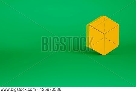 Orange Geometric Figure Cube Icon Isolated On Green Background. Abstract Shape. Geometric Ornament.
