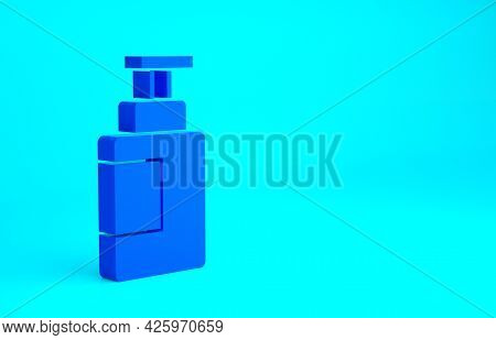 Blue Hand Sanitizer Bottle Icon Isolated On Blue Background. Disinfection Concept. Washing Gel. Alco