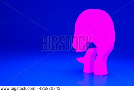 Pink Sore Throat Icon Isolated On Blue Background. Pain In Throat. Flu, Grippe, Influenza, Angina. H