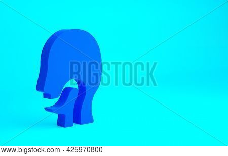 Blue Sore Throat Icon Isolated On Blue Background. Pain In Throat. Flu, Grippe, Influenza, Angina. H