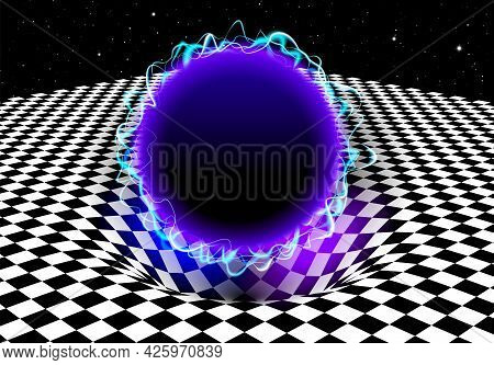 Abstract Checkered Board Background With Blue Electric Ball And Gravity Effect On The Pit Or Hole In