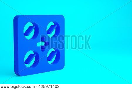 Blue Pills In Blister Pack Icon Isolated On Blue Background. Medical Drug Package For Tablet, Vitami