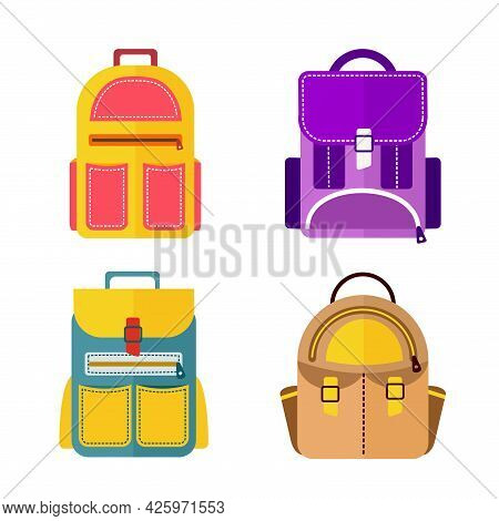 A School Backpack Is A Set Of 4 Different Satchels. Vector Illustration In A Flat Style. School Attr