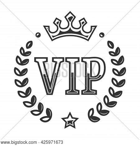 Vip Vector Label With A Laurel Wreath. Vip Icon