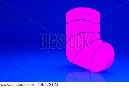 Pink Gypsum Cast Medical Health Broken Leg Icon Isolated On Blue Background. Minimalism Concept. 3d