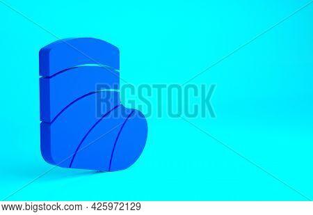 Blue Gypsum Cast Medical Health Broken Leg Icon Isolated On Blue Background. Minimalism Concept. 3d