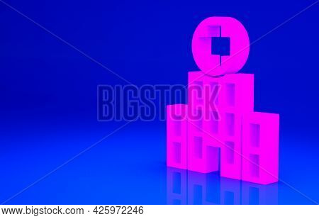Pink Medical Hospital Building With Cross Icon Isolated On Blue Background. Medical Center. Health C