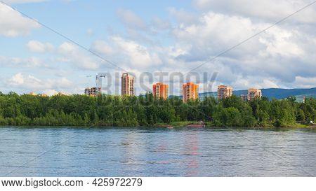 Summer Landscape Of Krasnoyarsk City. Modern Apartment Buildings By The Yenisey River