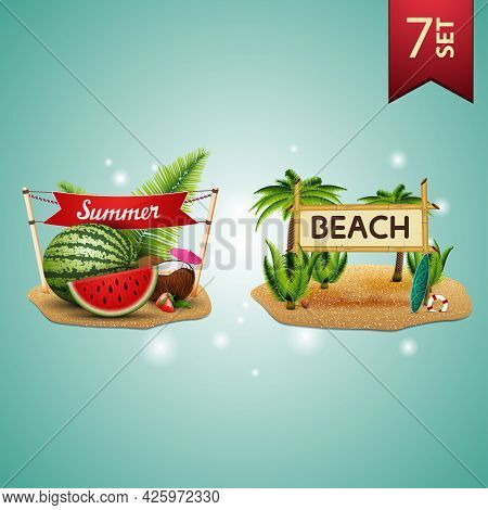Set Of 3D Volumetric Summer Icons For Your Arts, Watermelon, Coconut Cocktail In Coconut, Sign With