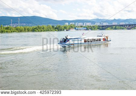 Krasnoyarsk, Russia - June 21, 2021: Water Taxi On The Yenisey River In Sunny Day