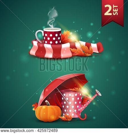 Set Of Autumns 3D Icons, Mug Of Hot Tea, Warm Scarf, Garden Watering Can, Umbrella And Ripe Pumpkin