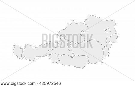 Simple Map Of Austria Vector Drawing. Mercator Projection. Filled And Outline.