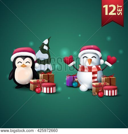 Set Of Christmas 3D Icons, Penguin In Santa Claus Hat With Presents And Snowman In Santa Claus Hat W