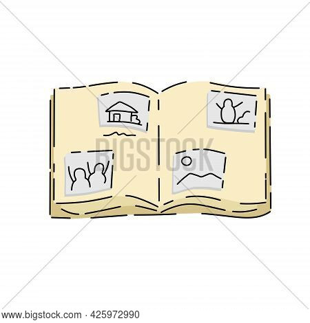 Photo Album. Images Pasted In Book With Photos And Memories. Cartoon Illustration Isolated On White