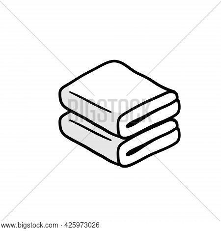 Folded Towel Or Cloth. Line Drawing. Isolated Cartoon Black And White Illustration. Packed Neat Clot