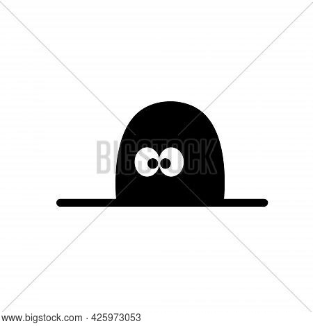 Mouse In Hole In Wall. Character With Eyes In Dark. Funny Black And White Illustration. Outline Cart