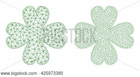 Mesh Vector Four Leaf Clover Icons. Mesh Wireframe Four Leaf Clover Images In Low Poly Style With St