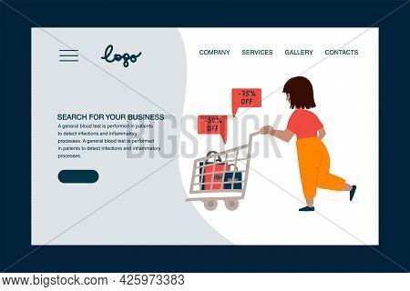 Black Friday Web Banner. A Concept For Advertising For Discounts. A Woman Runs To A Sale With A Shop