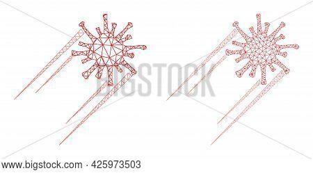 Polygonal Vector Rush Covid Virus Icons. Polygonal Carcass Rush Covid Virus Images In Lowpoly Style